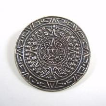 Pre 1955 Vintage sterling Silver Mexican Aztec Calendar Brooch / Pendant