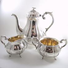 Vintage Art Deco Danish Hugo Grun Silver Plate Coffee Pot Sugar Bowl & Jug c1940