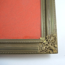 Vintage Ornate Danish Brass Frame Convex Glass Photo Size 24cm x 18cm