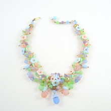 Vintage 1950's Pastel Art Glass Flower Necklace
