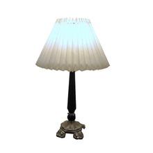 Vintage Brass & Black Metal Reeded Column Table Lamp - New Pleated shade