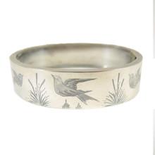 Antique Australian Victorian Sterling Cuff Bangle Swallow Bracelet c1880