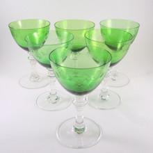6 Vintage Holmegaard Rosenborg Green White wine glasses Jacob Bang 1933