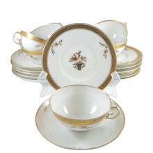 6 Antique Royal Copenhagen Golden Basket Hand Painted Tea Cups, Saucers & Plates