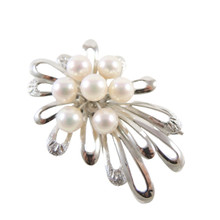 Vintage Silver Japanese Cultured Pearl Brooch 7mm pearls