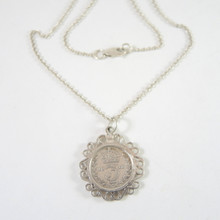 Antique 1916 Silver Threepence Ornate Setting on Sterling Silver Chain