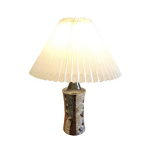 Vintage Stoneware Danish Art Pottery Lamp with new pleated shade