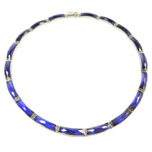 Sterling Silver Amethyst Coloured Cut Stone Collar Necklace