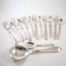 14 Piece Vintage Danish Cohr Silver Plate Cake Fork Set Hertha