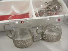 Vintage Iittala Tsaikka hot drink glasses with metal holders Timo Sarpaneva 1957