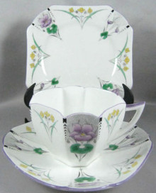Art Deco Shelley Trio Pansies with lavender trim c.1930