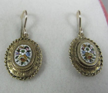 Antique Victorian 12ct gold micro mosaic drop earrings