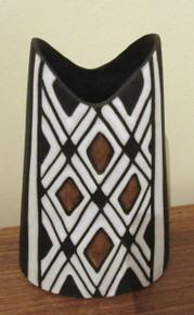 Vintage Danish Michael Andersen & Sons Art Pottery Harlekin Tribal Vase Bornholm Denmark