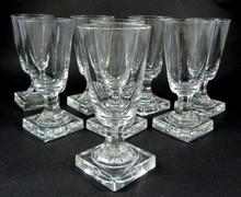8 Antique Square Based Cut Stem Crystal Port Wine Glasses