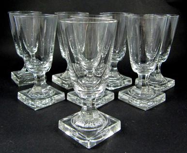 8 Antique Square Based Cut Stem Crystal Port Wine Glasses