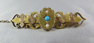 Antique Australian 15ct Gold Seed Pearl & Turquoise Brooch By T Willis & Sons