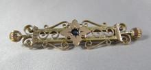 Antique Australian 9ct Gold Sapphire brooch Benjamin bee mark