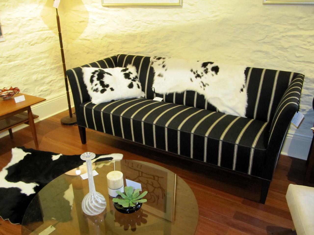 Mid Century Modern Scandinavian Woollen Black White Striped Couch
