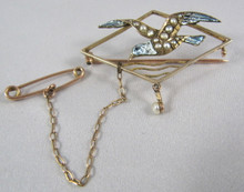 Antique 9ct Rose Gold Enamel and Seed Pearl Seagull brooch