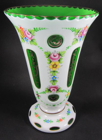 Vintage Bohemian Crystal Hand Painted Green cut to Clear vase