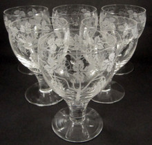 6 Vintage Stuart Crystal Large Red Wine or Water Glasses Grape Vine