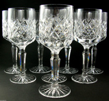 8 Danish Lyngby Diamond Cut Lead Crystal Westminster White Wine Glasses