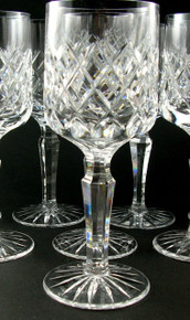 6 Danish Lyngby Diamond Cut Lead Crystal Westminster White Wine Glasses