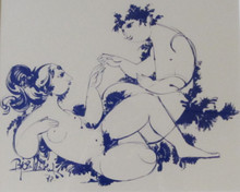 Framed monochrome Bjorn Wiinblad print 1978