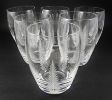 6 Large Vintage Stuart Crystal Woodchester barrel tumblers or glasses