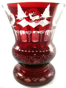 Very Large Vintage Bohemian 'Egermann' Overlay Ruby Red Glass Urn Vase