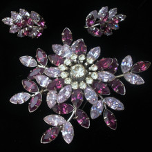 Vintage wisteria rhinestone brooch and earrings by jewelcrest
