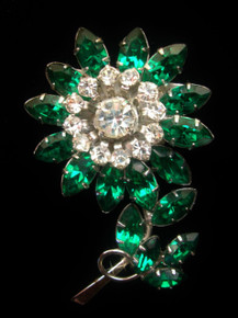 Vintage Australian 'Edelweiss' Emerald green Rhinestone Brooch by Jewelcrest