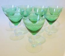 8 Vintage Holmegaard Egby white wine green glasses Jacob Bang c1940