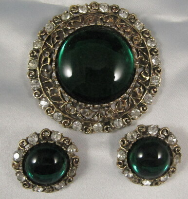 Vintage Arcansas Australian Emerald Rhinestone Brooch & Earrings by Elizabeth Reimer