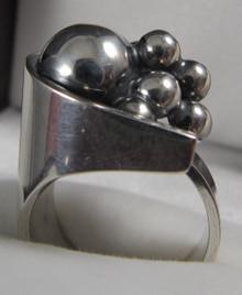 Vintage Sterling Silver Modernist Ring Elis Kauppi for Kupittaan Kulta Turku Finland