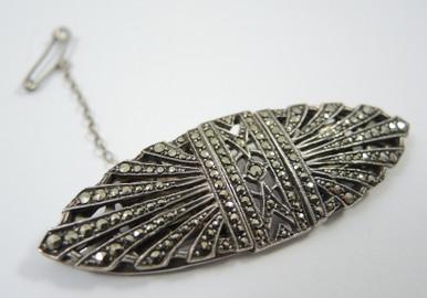 Vintage Australian Lega Sterling Silver Marcasite Dress Clip Brooch
