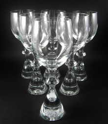 6 Vintage Holmegaard Prince White Wine Glasses Bent Severin 1960's