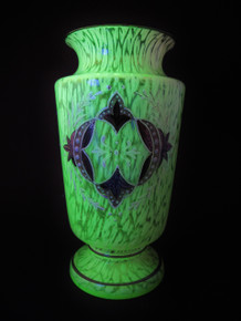 Antique Czech Spatter Glass Vase made from Uranium Glass c.1900