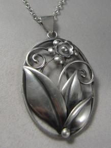 Vintage Danish sterling silver pendant necklace H.C Boje Jorgensen Denmark.