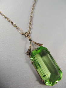 Antique Australian 9ct Rose Gold Green Stone pendant on chain - Rare J Lawrence Melbourne.