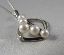 Vintage Silver Mikimoto Pearl modernist pendant necklace