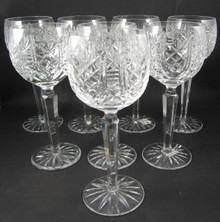 8 Vintage Waterford Crystal Clare White Wine Hock Glasses