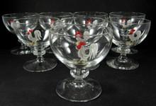 8 Vintage Holmegaard enamel rooster cocktail glasses J Bang c1950.