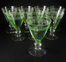 8 Art Deco Holmegaard Bandholm wine glasses Uranium Glass Jacob Bang 1937