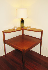 Vintage Australian Fler teak 2 tier corner coffee table