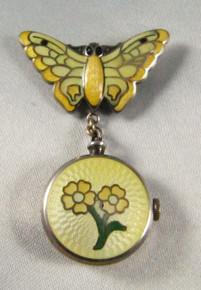 1940's Vintage Sterling Silver Enamel Butterfly Venus nurse's watch brooch