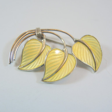 Vintage Norway Sterling Silver Enamel Leaf brooch T Olsens Eft