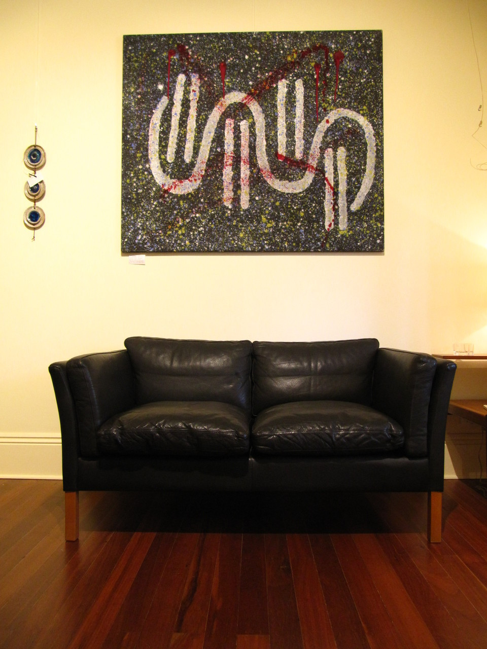 Vintage Danish Modern Stouby Black Leather two seater Sofa or Couch