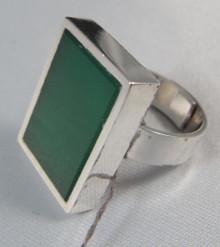 Vintage Sterling Silver & Green Stone Ring Kupittaan Kulta Finland