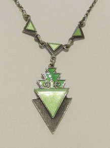 Art Deco Norway Sterling Silver Enamel Necklace Norne Aksel Holmsen